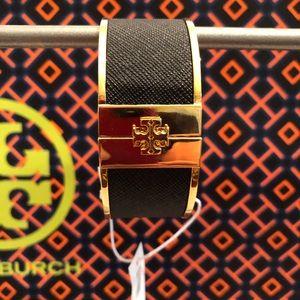 Tory Burch- Skinny Leather Inlay Cuff in Black